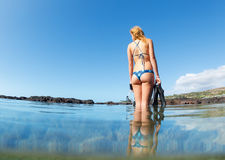 Sexy female snorkeler Stock Images