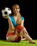 Sexy female soccer fan Stock Images