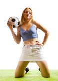 Sexy female soccer fan Stock Photo