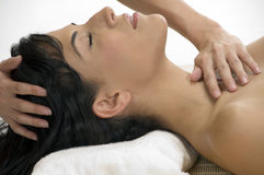 Sexy female taking massage Stock Photo