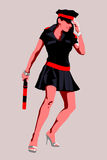 Sexy female traffic warden. Retro cartoon illustration of sexy traffic warden or policewoman with baton or truncheon Royalty Free Stock Photos