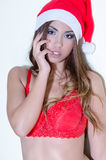Sexy female wear Santa Claus hat and red bra Royalty Free Stock Photo