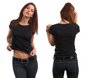 female wearing blank black shirt stock photo