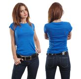 Sexy female wearing blank blue shirt. Young beautiful brunette female with blank blue shirt, front and back. Ready for your design or artwork Stock Image