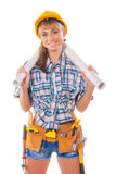 Sexy female worker holding two blueprints Stock Image