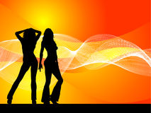 Sexy females. Silhouettes of  two sexy females Royalty Free Stock Images