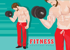 Sexy figured man exercising without shirt with dumbell Stock Image