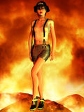 Sexy Fire Fighter. 3D Render of an Sexy Fire Fighter Stock Image