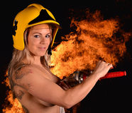 sexy firewoman Photographie stock