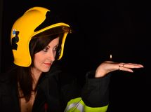 Sexy firewoman Stock Image