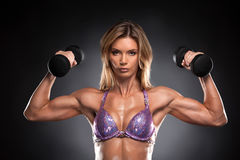 Sexy fit muscular woman posing with dumbbells. Royalty Free Stock Images