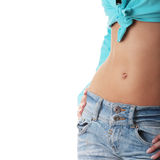 Sexy, Fit Woman In Jeans, With Naked Stomach Royalty Free Stock Photos