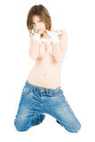 Sexy, fit woman in jeans on wtite Royalty Free Stock Photo
