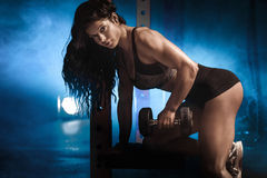 Sexy fit woman posing. Beautiful sexy fit woman posing on gym. Healthy life concept Royalty Free Stock Image