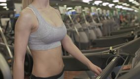 Sexy fit women running on treadmills in modern gym. Healthy young young girls doing running exercise treadmill in gym. Sexy fit women running on treadmills in stock video footage
