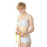 Sexy, fit, young woman measuring Stock Photo