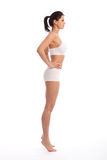 Sexy fit young woman in underwear profile view Royalty Free Stock Photo