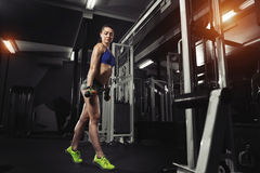 fitness brunette doing exercises in the sport gym stock photography