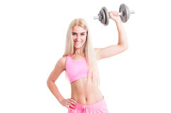 fitness girl lifting weight royalty free stock image