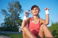 Sexy fitness girl outdoor Stock Photography