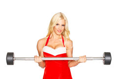 Sexy fitness model with barbell Stock Image
