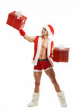 fitness Santa holding a red boxes royalty free stock image