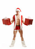 fitness Santa holding a red boxes stock image