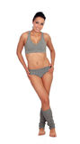 Sexy fitness woman with grey underwear Royalty Free Stock Image