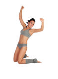 Sexy fitness woman with grey underwear jumping Stock Photos