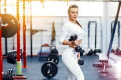 Fitness woman posing in gym. Fitness woman in sport wear with perfect fitness body posing in gym stock image