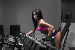 Sexy fitness woman in sport wear with perfect fitness body in gym Stock Photos