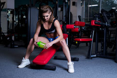 Sexy fitness woman in sportswear resting after dumbbells exercises in gym. Beautiful girl with perfect fitness body drinking from Stock Photos