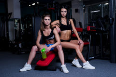 fitness women in sportswear resting after dumbbells exercises in gym. Beautiful girls with perfect fitness body drinking from Royalty Free Stock Images