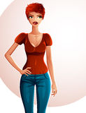 Sexy flirting woman full-length portrait. Beautiful red-haired g Royalty Free Stock Photos