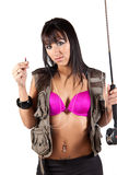 Sexy Fly-Fisherwoman. Sexy yet confused fly fisherwoman tangled in her line Royalty Free Stock Image