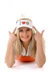 Sexy football fan woman with funny hat Royalty Free Stock Image
