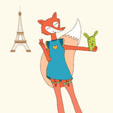 Sexy fox taking Selfie Photo On Smart Phone in Paris Royalty Free Stock Photo