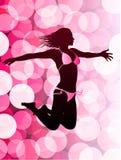 Sexy Frau auf Blendenfleck-Hintergrund Lizenzfreie Stockbilder