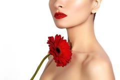 Sexy Frau des Nahaufnahmeschönheits-Fotos mit den roten Lippen, Lippenstift und schöner roter Blume Saubere Haut des Badekurortes Stockbild