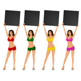Sexy Frau im Bikini, der ein announcent macht Stockbild