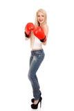 Sexy Frau mit Boxhandschuhen Lizenzfreies Stockbild