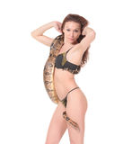 Sexy Frau mit einer Boa Lizenzfreies Stockfoto