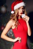 Sexy Frau in Weihnachts-Sankt-Hut im eleganten roten Kleid Stockbild