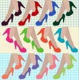 Sexy Frauenbeine mit mehrfarbigen Schuhen der hohen Absätze Auch im corel abgehobenen Betrag Lizenzfreie Stockfotos