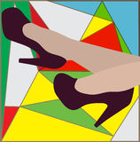 Sexy Frauenbeine mit Schuhen der hohen Absätze Auch im corel abgehobenen Betrag Stockfotografie
