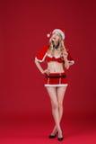 sexy Frauenblondine in der Kleidung von Santa Claus Lizenzfreie Stockfotografie