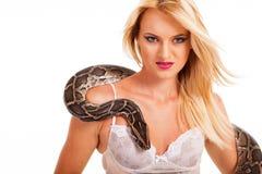 Sexy Frauenpythonschlange Lizenzfreie Stockfotos