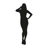 Sexy Frauenschattenbild lokalisierte Vektorschwarzes auf Weiß Stockfotografie