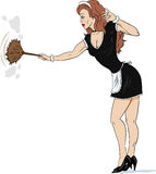 Sexy french maid. Cartoon of a sexy french maid dusting Stock Image