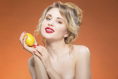 Sexy Fruit Series. Naked Caucasian Blond Girl Posing With Yellow Lemon Stock Image